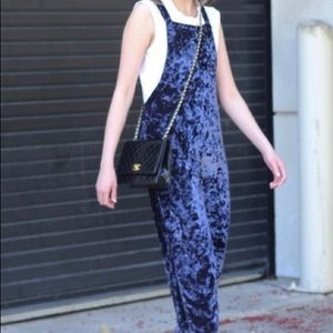 Urban Outfitters crushed valvet jumpsuit overalls
